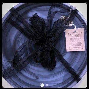 New AKCAM TURKISH GLASS  Dinner Plates  Black Matt